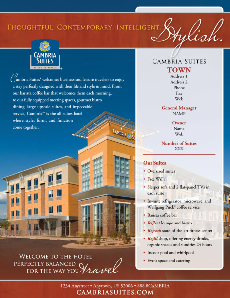 Choice Hotels International | Cambria Suites | Brochures and ...